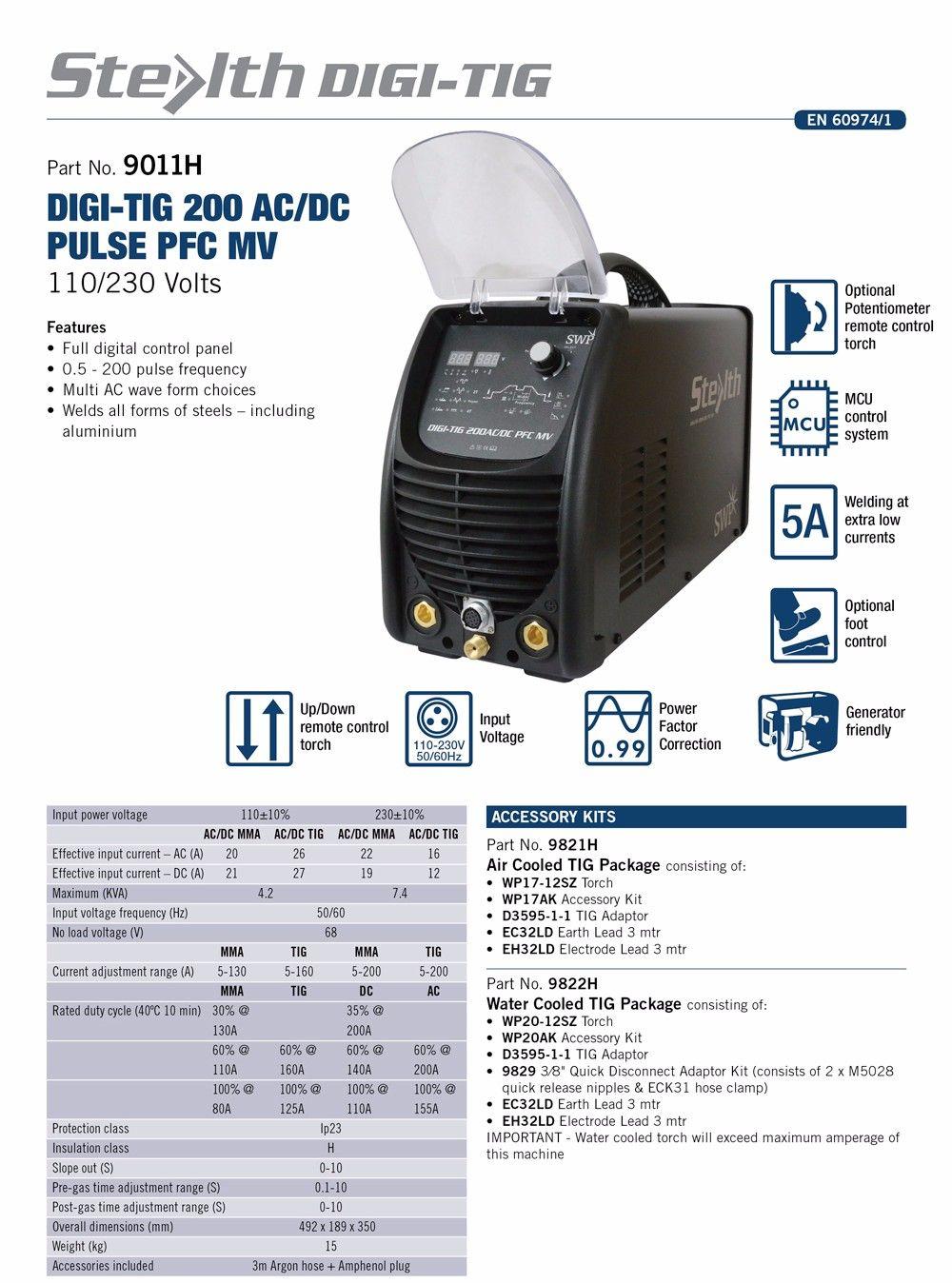 Stealth Digi-Tig 200Pd Ac/dc Tig Welder 200A Single Phase c/w Reg + Torch